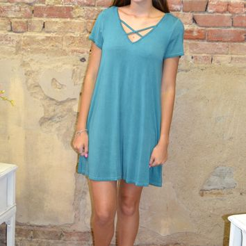 Seasons Change Criss Cross Pocket Dress: Jade