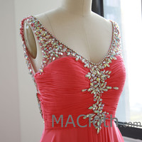 Straps V Neck with Crystals Coral Chiffon Long Prom Dresses, Formal Gown
