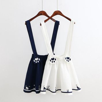 Women's Cartoon Cat Paw Embroidery Pleated Strap Dress 2 Colors
