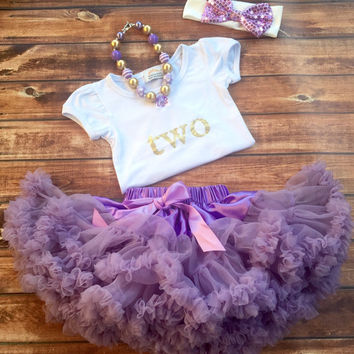 Purple second birthday outfit, girl 2nd birthday, purple pettiskirt, one year old gold shirt, birthday shirt, 2 year old birthday, girl