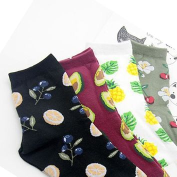 Foot 22-26cm Fresh Fruits Short Socks Lemon Avocado Pineapple Cherry Blueberry Orange Lily Gardenias Rubra Banana Leaf Plumerias