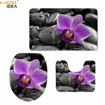 HUGSIDEA Modern Style Orchids Printing Toilet Seat Covers Washroom Bath Accessories 3PCS Set Mats Non-slip Bathroom Carpets Rugs