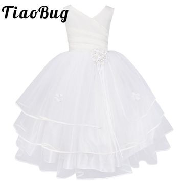TiaoBug Flower Girl Dresses Holy Communion Dress White Blue Tulle Vestidos Pageant Dresses For Little Girls Ball Gown 4-14Y