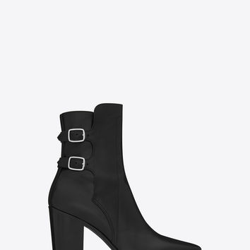 Saint Laurent FRENCH 85 Double Buckle ANKLE BOOT IN BLACK LEATHER | ysl.com