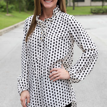 Whitney Ruffle Neck Tunic - Polka Dot