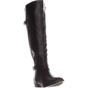 MG35 Carleigh Wide Calf Riding Boots, Black, 11 US