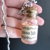 "Disney's Alice in Wonderland ""Drink Me"" mini bottle & key pendant necklace"