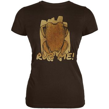 Rub Me Chicken Breast Barbeque Funny Juniors Soft T Shirt