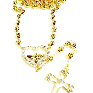 "5mm Beads Piece Dove Crystal Heart and Cross 22"" Gold Plated Rosary"
