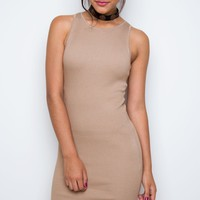 Millie Ribbed Dress - Taupe