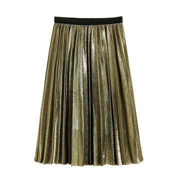 Women Metallic Silver Skirt Midi Skirt High Waist Metallic Pleated Green Skirt Clubwear For Ladies