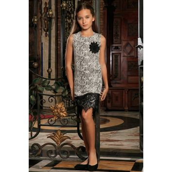 Black White Stretchy Sleeveless Shift Party Dress with lace trim - Girls