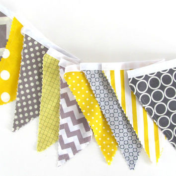 Bunting Fabric Banner Yellow and Grey Chevron, Dot Garland, Photography Prop Nursery Decor Eco Friendly  - Wedding Pennant Flags Banner