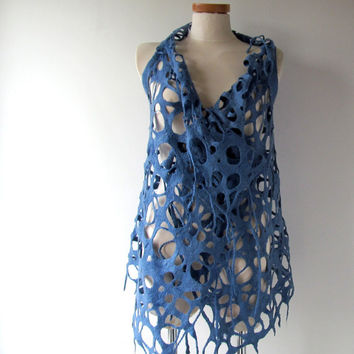 Blue Felted vest, Wool Reversible vest,  one of a kind vest , Lace women vest , women wool vest lace scarf , blue felted vest