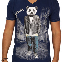 Rawyalty Vintage Men's Swag Panda V-Neck T-Shirt with Stones Navy