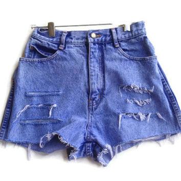 "Acid Wash High Waisted Denim Shorts Distressed Vintage Hipster 24"" Waist"