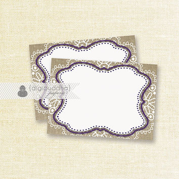 Lace Burlap Labels with Plum Purple and Linen INSTANT DOWNLOAD Buffet Shabby Chic Food Cards Printable Sticker Table Favor Tag DIY- Jackie