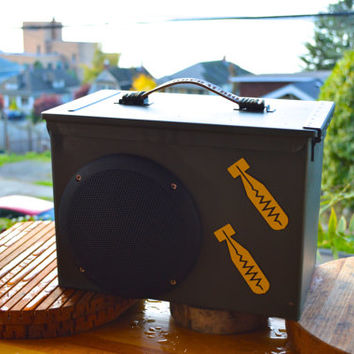 "Bomb-proof Ammo can stereo system ,the loudest boom box with two 6.5""  speakers"