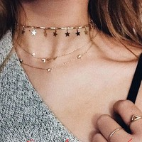 Newest fashion jewelry accessories  punk   gold color star tassel choker  Necklace for couple lovers'  N409