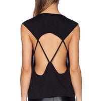 Black Back Cross Strap Vest