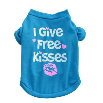 I Give Free Kisses Blue Cat Shirt Costume
