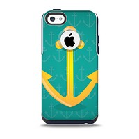 The Gold Stretched Anchor with Green Background Skin for the iPhone 5c OtterBox Commuter Case