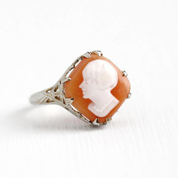 Antique Cameo Ring - Vintage 18k White Gold Art Deco 1920s Carved Shell Lady with Bob & Pearls - Size 6 Flower Filigree Classic Fine Jewelry