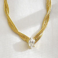 CIJ SALE Vintage Classic Flat and Woven Herringbone Necklace with Clear Ice Crystal Rhinestone