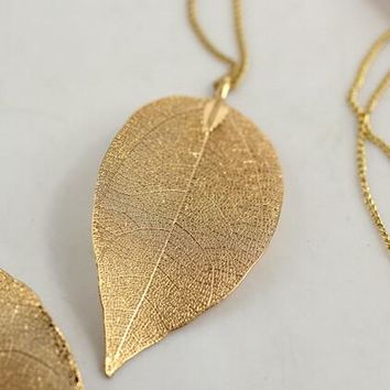 Fashion Hot Sales Golden Leaves Long Pendant & Necklace