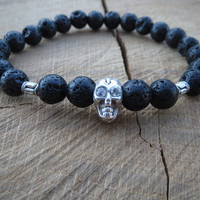 Tribal Mens Black Lava Stones Skull Bracelet, Volcanic Lava Rocks, Gift For Men, Simple Black Bracelet, Mens Black Bracelet