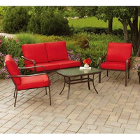 Mainstays Cushioned 4-Piece Garden Table Set