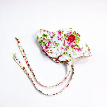 3 month to 6 month floral baby bonnet summer baby bonnet baby sunbonnet rose floral sunbonnet infant sun bonnet baby shower new baby gift