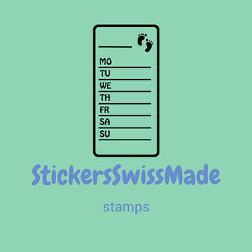 PLANNER STAMPS | step counter | 30x60mm || for your planner and bullet journals || self inking ||easy to use || days of the week in english