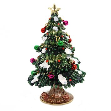 ... the cheapest 7c89d b7709 Hinged Trinket Box CHRISTMAS TREE WITH SNOW  Metal Ornaments Wint ... eaf086b12
