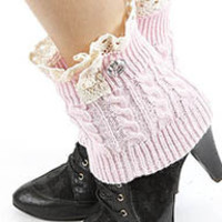 Pau Diamond Lace Accent Short Knit Leg Warmers in Light Pink