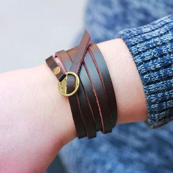 Punk Brown Leather Muti-layers Charm Barcelet  Wrap Wristband Cuff Bracelet for Men