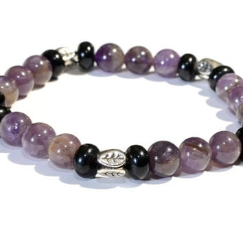 Amethyst and Onyx Beaded Gemstone Bracelet or Anklet - BB720