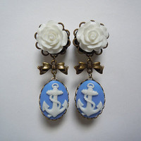 Rose & Anchor Cameo Dangly Plugs assorted by TheGaugeQueen on Etsy