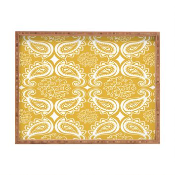 Heather Dutton Plush Paisley Goldenrod Rectangular Tray