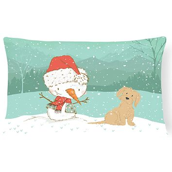 Brown Maltese Snowman Christmas Canvas Fabric Decorative Pillow CK2093PW1216