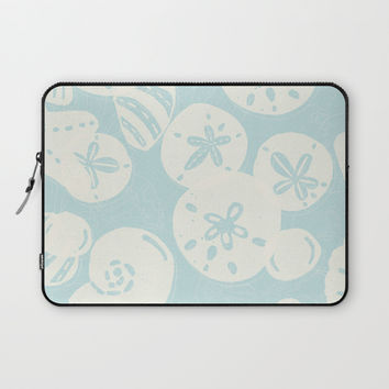 Cream Seashells on Aqua Laptop Sleeve by Noonday Design