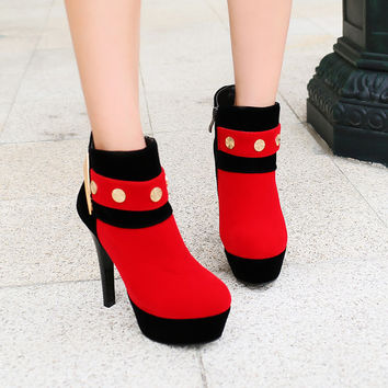 PU Mixed Color Round Toe Side Zipper Rivet High Heel Ankle Boots
