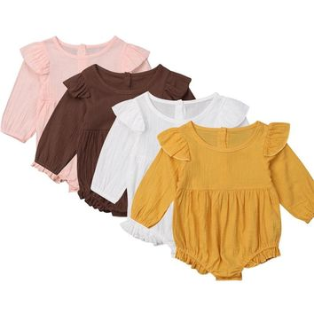 Adorable Baby Girl Bodysuits Ruffle Baby Long Sleeve Bodysuit Girls Jumpsuit Outfits Cotton Infant Girl Clothes Toddler Bodysuit
