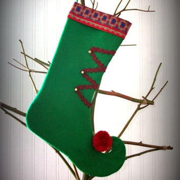 Handmade Christmas Stocking, vintage-style Christmas Stocking, Elf style, ready to ship, one of a kind, UK seller
