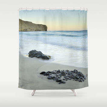 Black volcanic rocks Shower Curtain by Guido Montañés