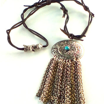 Leather Necklace, Silver Mandala, Turquoise, Native, Southwestern, Barb Wire, Magnetic Clasp. Christian Ministry