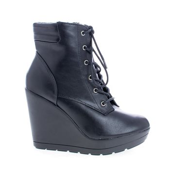 Claudia12 Black Pu By Breckelle's, Round Toe Lace Up Platform High Wedge Heel Ankle Booties