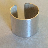 "1"" Wide Hammered Sterling Silver Ring"