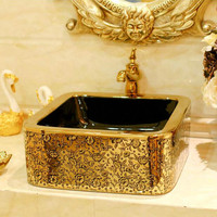 Gold Coating W/ Flower Decor Porcelain Wash Basin Ceramic Countertop Bathroom Sink
