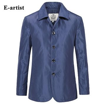 New Men's Jackets Coats Slim Fit Casual Shiny Thin Long Outerwear Overcoats Windbreaker Spring